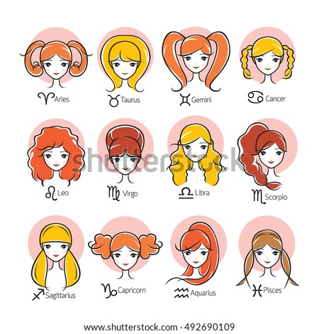 woman with twelve zodiac signs