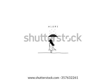 woman  with umbrella in a