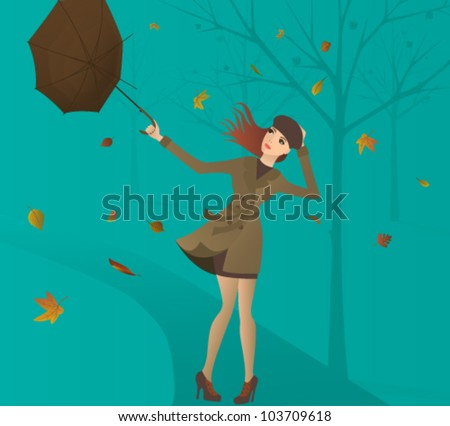 woman  with umbrella in the