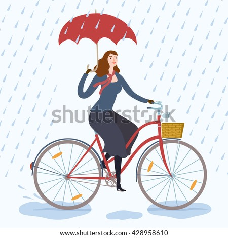 woman with umbrella riding on a