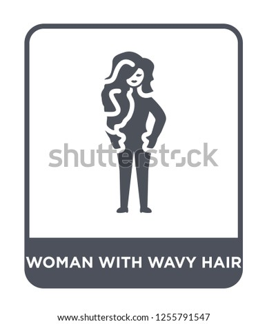 woman with wavy hair icon vector on white background, woman with wavy hair trendy filled icons from Ladies collection, woman with wavy hair simple element illustration