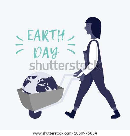woman with wheelbarrow and a