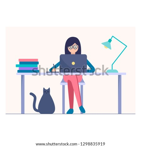 woman work on the laptop vector