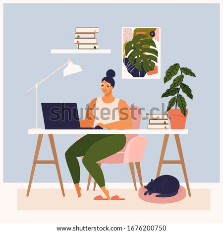 Woman working at her desk at home. She has a lot of work. Woman working with laptop at her work desk and testing ui and ux. Vector illustration of student studying at home.
