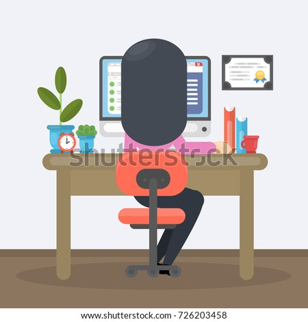 woman working at office with