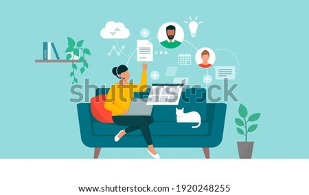 Woman working from home and having a conference call with her virtual team online, remote work and outsourcing concept