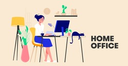 Woman working from home and talking with colleagues online. Woman sitting at desk in room, looking at computer screen. Freelancer or blogger home office concept. Flat Design Vector Illustration