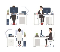 Woman working on computer. Female office worker, secretary or assistant sitting in chair at desk. Flat cartoon character isolated on white background. Front, side and back views. Vector illustration.