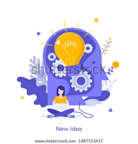 Woman working on laptop and giant head with glowing light bulb inside. Concept of new idea, novelty, creative solution, modern thinking and creativity. Vector illustration in flat style for poster.