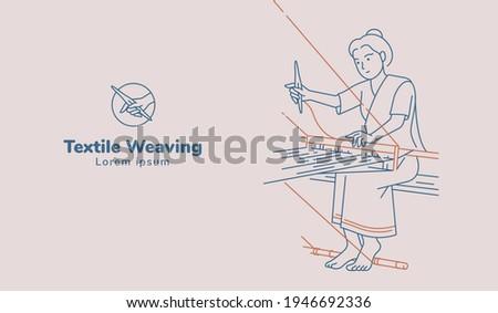 Woman working on weaving hand woven illustration. Line art vector. Stock foto ©