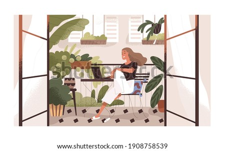 Woman working or relaxing with laptop at home balcony garden with furniture and potted plants. Modern trendy eco-style interior with greenery. Colored flat textured vector illustration.