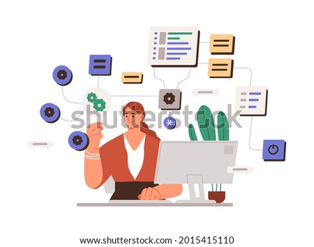 Woman working with big data and tech information on laptop. System administrator setting software. Female coder at work with computer. Flat vector illustration of sysadmin isolated on white background
