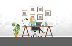 Woman working with phone workplace scene with laptop at her desk at home.vector illustration
