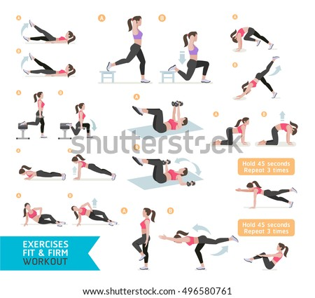 Stock Photo Woman workout fitness, aerobic and exercises. Vector Illustration.