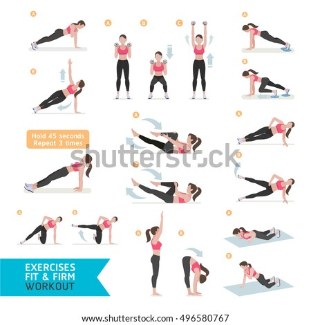 Woman workout fitness, aerobic and exercises. Vector Illustration.