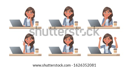 Woman works at a computer. The working process. A set of emotions. She thinks, idea, task and success. Vector illustration in cartoon style