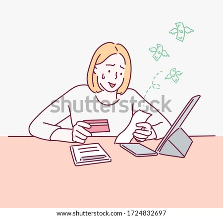 Woman worried about paying Bills. Hand drawn style vector design illustrations.