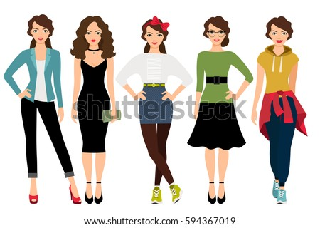 womans fashion styles vector