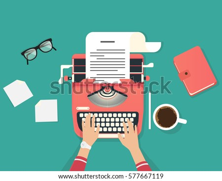 Womans hands typing an article on a vintage typewriter. Flat illustration of copywriter working process and author modern workplace. Green background for social media promotion and blogging