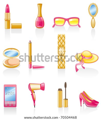 Women accessories isolated on white background.