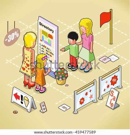 Women and kids looking at a mall directory, mall interior indicated (isometric view)
