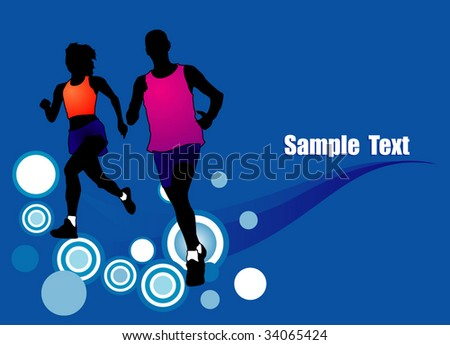 women and man jogging run Background