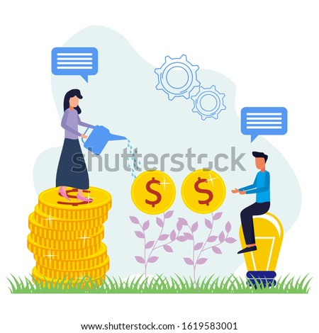 Women and men entrepreneurs water the coin-bearing plants that the body is growing rapidly. Successful investor or entrepreneur. Financial consulting, investment and savings. Modern vector