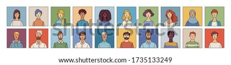 women and men icons set flat