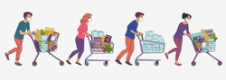Women and men in white medical masks with cart shopping in supermarket. Concept of corona virus  quarantine vector illustration