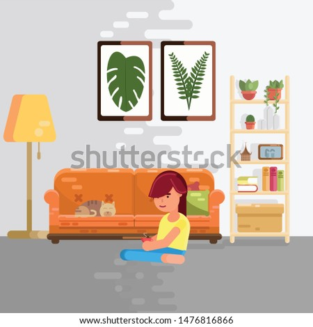 Women are drinking coffee and Sitting on the floor near the sofa and cat on sofa  in hygge design,Scandinavian style room  vector flat design,vector illustration