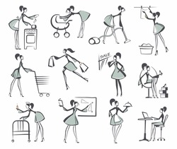Women are engaged in different affairs. Sketches in style of a retro