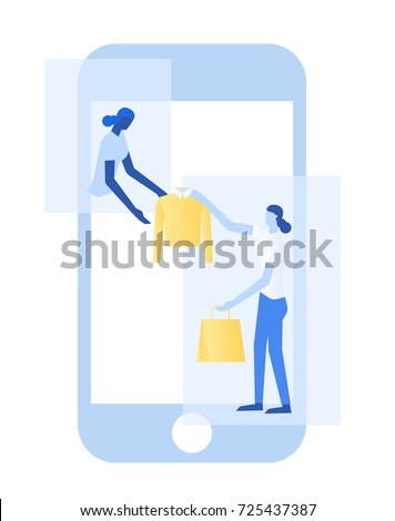 Women are sending a shirt on mobile.E-commerce business, sale and consumerism concept.Shopping on-line concept.
