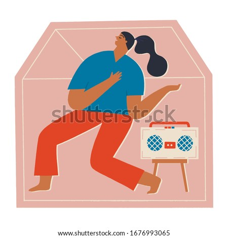 Women at home listening the music, dancing and singing in period of self isolation and social distancing during covid virus epidemic. Stay home global period illustration in vector.