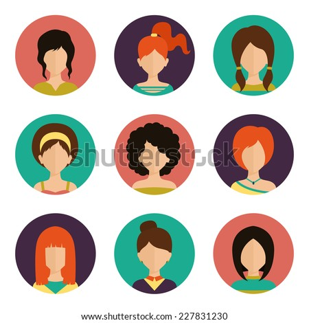 Women avatar female human faces social network icons set isolated vector illustration