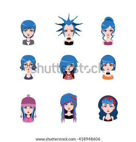 women avatar with blue hair