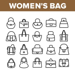 Women Bag Accessory Collection Icons Set Vector. Fashion Women Bag Baguette And Bucket, Duffel And Hobo, Saddle And Shopper Concept Linear Pictograms. Monochrome Contour Illustrations
