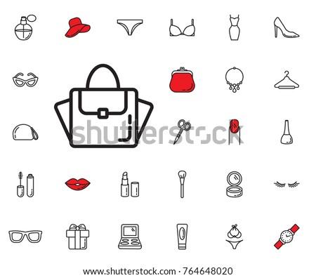 women bag icon set of woman