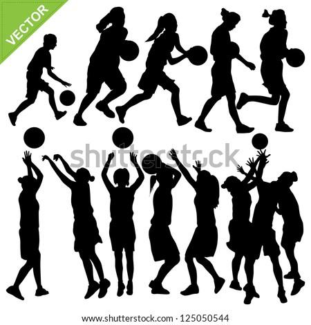 Women basketball silhouettes vector - stock vector