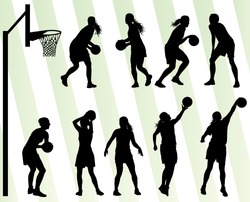 Women basketball vector background silhouette set