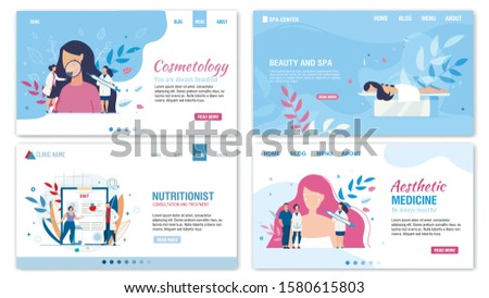 Women Beauty and Proper Nutrition Services Flat Landing Page Set. Cosmetology and Aesthetic Medicine. Personal Nutritionist Consultation and Treatment. Spa Salon. Vector Cartoon Illustration