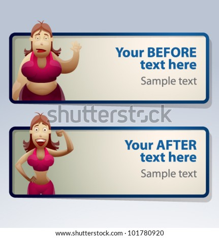 women Before and After banner, vector
