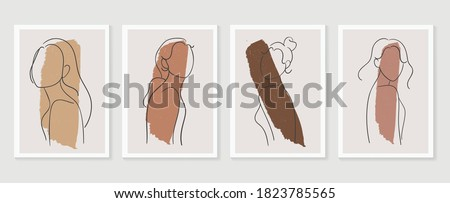 women body wall art vector set. boho earth tone line art drawing with  abstract shape.  Abstract Plant Art design for print, cover, wallpaper, Minimal and  natural wall art.
