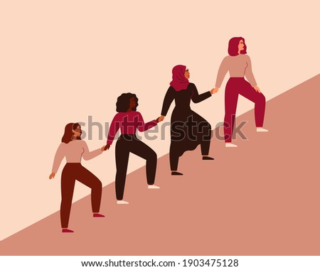 Women can do it. Four female characters walk up together and hold arms. Girls support each other. Friendship poster, the union of feminists and sisterhood. Vector illustration Сток-фото ©
