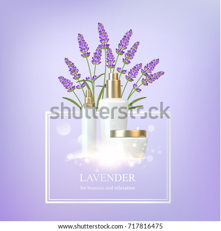 Women care cosmetic in beautiful bottles over violet background. Lavender cream and oil. Moisturizer with Vitamins and Regenerate Cream containes lavender essence. Vector illustration.
