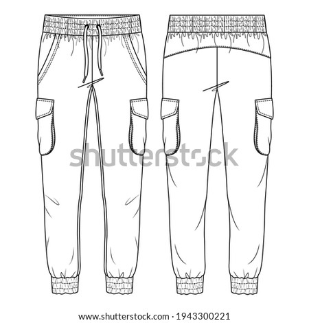 Women Cargo Pockets Jogger Pant Vector Fashion Flat Sketches. Fashion Technical Illustration Template. Drawcord detail. Multiple Stitch detail on cuffs and waistband Photo stock ©