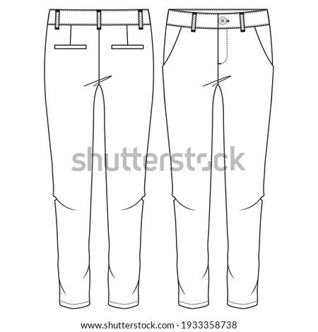 Women Chino Pant fashion flat sketch template. Girls Trousers Technical Fashion Illustration. Slim Fit. Slanted Pockets Foto stock ©