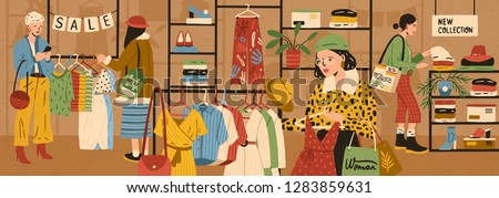 Women choosing and buying stylish clothes at clothing store or apparel boutique. Female customers purchasing trendy garments at shop. Fast fashion and mass market. Flat cartoon vector illustration.