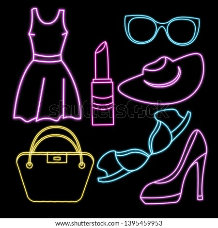 Women clothing, shoes, underwear and accessories. Vector neon icon