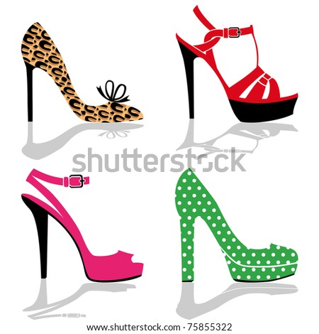 Women colorful shoes collection, isolated on white, full scalable vector graphic for easy editing and color change. - stock vector
