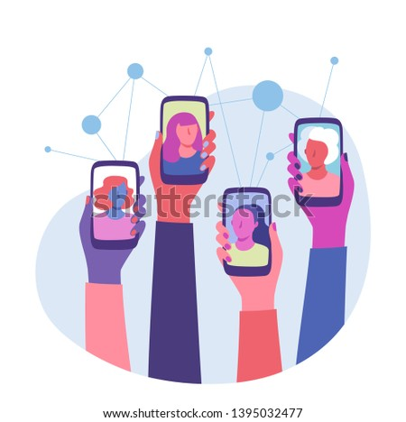 Women Connection. Global communication. Diverse group of women with raised hands holding smartphones. Video call and Long distance communication. Women rights, equality, Empowerment. Flat style vector